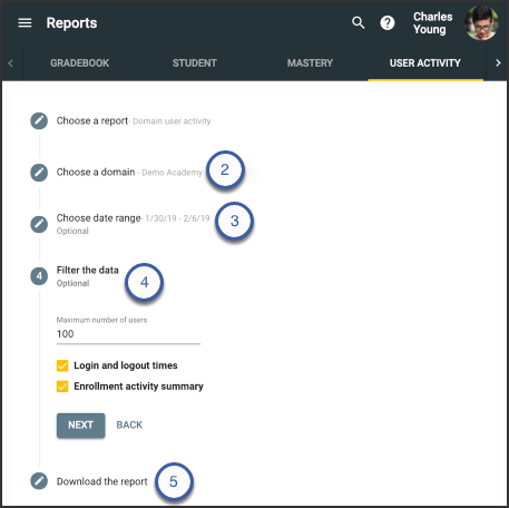 steps for running a domain user activity report