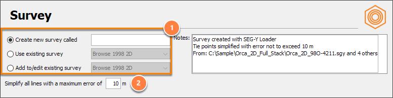 Define a survey file