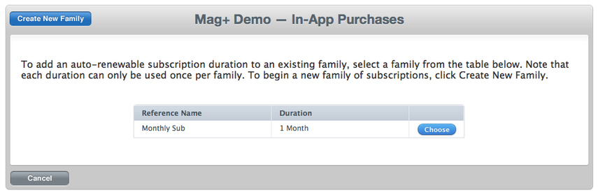 If necessary, choose an existing family for a subscription product or create a new one.