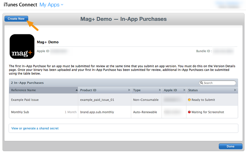 """Click on """"Create New"""" to create a new In-App purchase."""