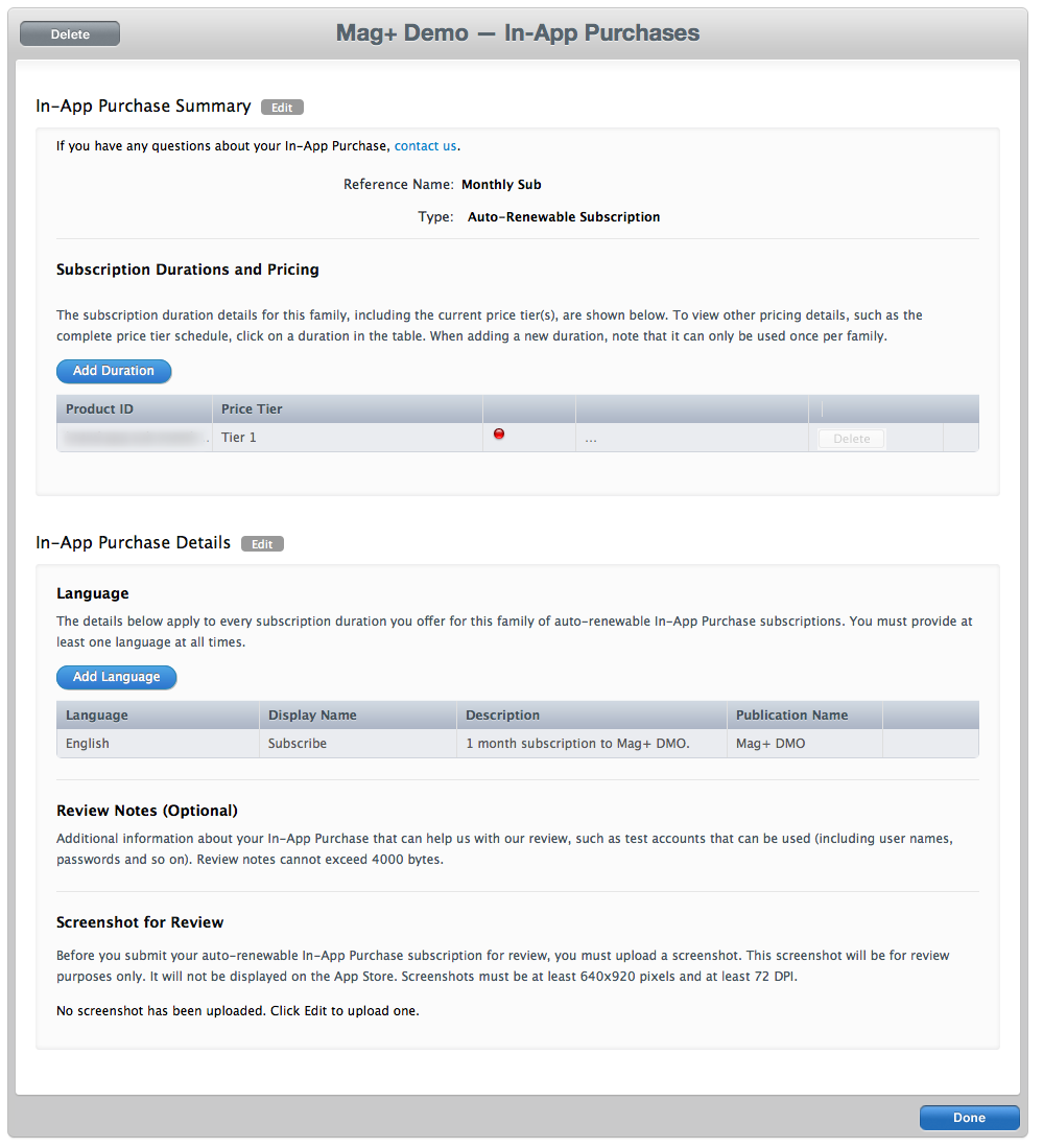 iOS - Creating In-App Purchases for Subscriptions – Mag+ Designd Support