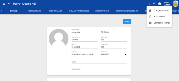 User Page with Enrollments
