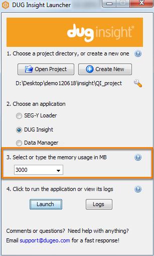 Allocate memory for application