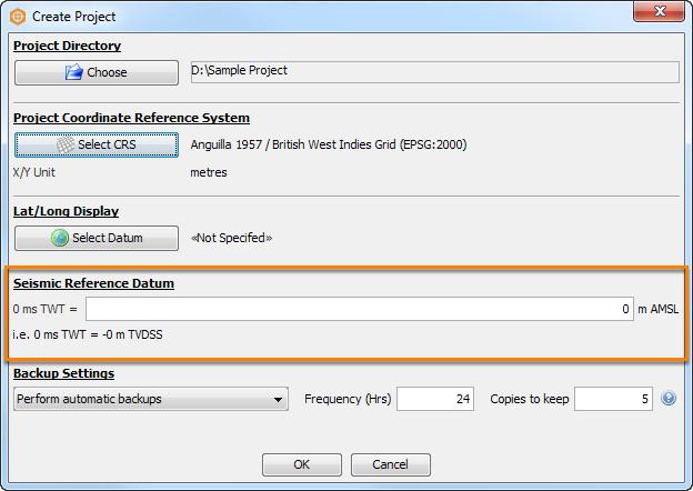 Configure seismic reference datum