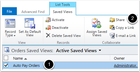 Select the View you want and click Share in the top ribbon tool bar.