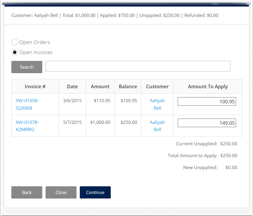 Enter the amount you want to apply to the Order/Invoice.
