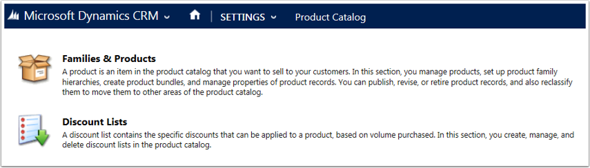 Navigate to Settings > Product Catalog > Discount Lists