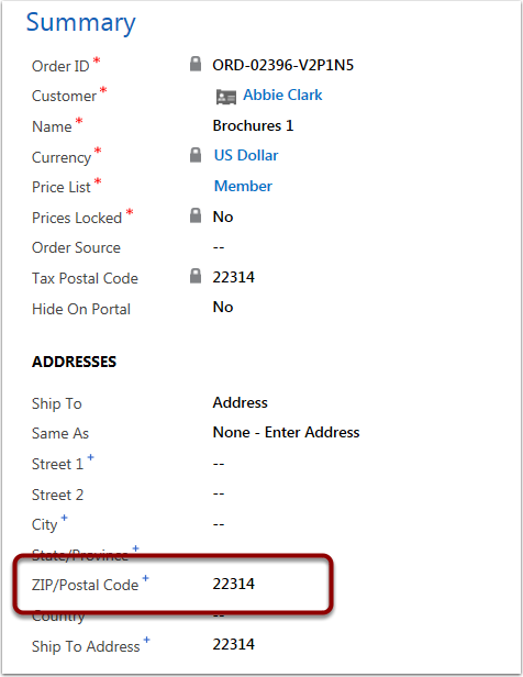 Fill in the Zip Code field  for the shipping address. The Tax Postal Code will automatically populate once you save.