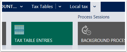 Use the menu tiles to navigate to the Tax Table Entries
