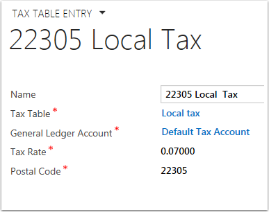 Complete or edit the fields of the tax table entry and save.