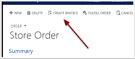 In the ribbon bar, click the Create Invoice button.