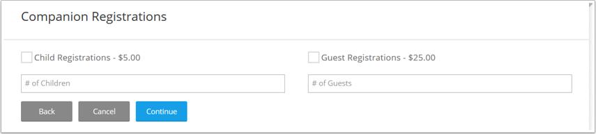 Guest Registrations appear after the attendee selects a registration fee.