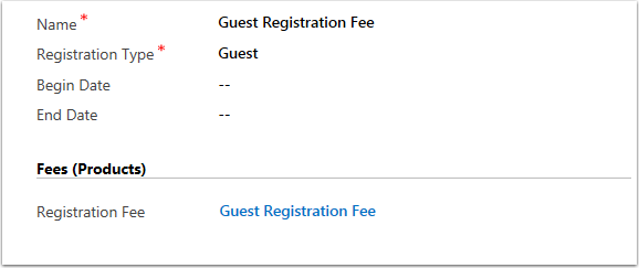 Select a product for the Guest Registration Fee
