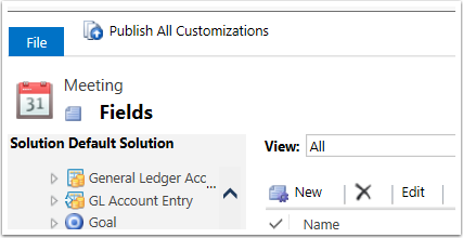 9. Click Publish All Customizations