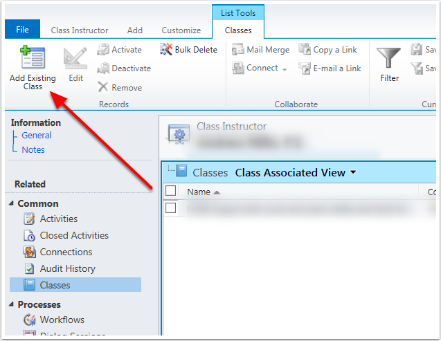 In the ribbon bar, click the Add Existing Class button.