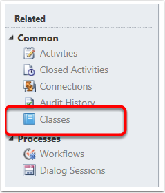 On the left side tool bar click on the Classes link under Common.