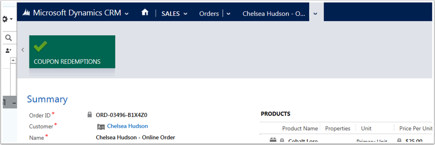 Open the order for the contact or account and use the menu tiles to navigate to Coupon Redemptions