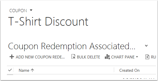 Click Add New Coupon Redemption