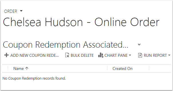 Click Add New Coupon Redemption.