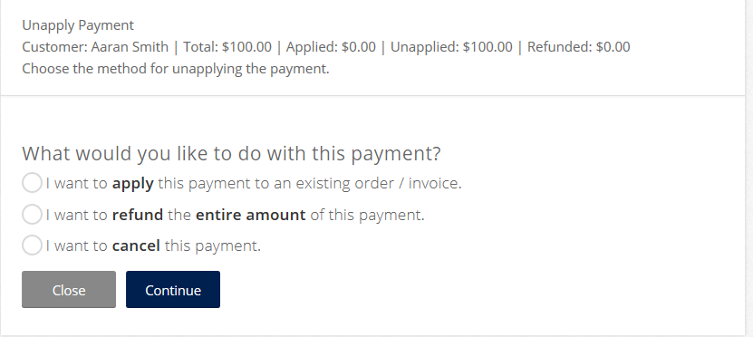 Running the Wizard from a Canceled Payment