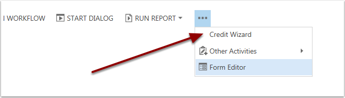 Open the Credit Wizard by Clicking the More Options Button.