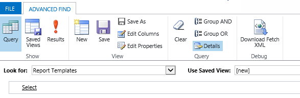 Do an Advanced Find for Report Templates