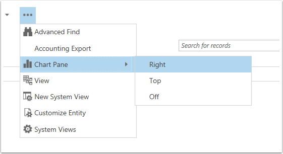 Select the More Commands button select Chart Pane