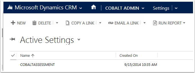 Navigate to Cobalt Admin > Settings and open the Settings Record