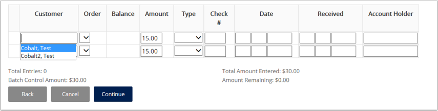 Fill in details for each payment record and click continue
