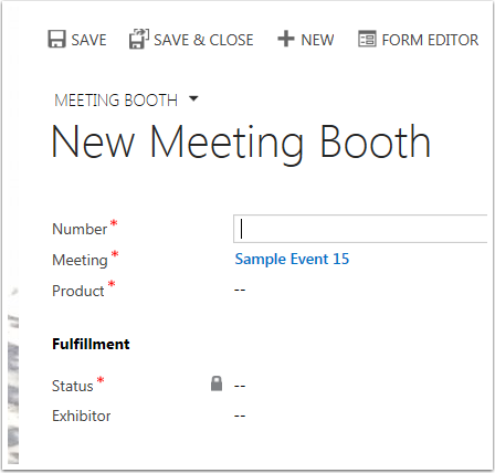 Fill out the fields in the Meeting Booth Form. Those marked with a red asterisk (*) are required.