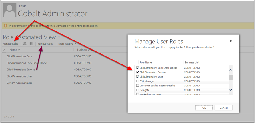 Steps to Assign a new security role to a user or to remove an existing role from a user.
