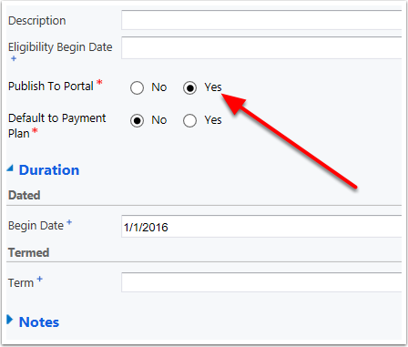 SOLUTION #2 Change the Publish to Portal setting to Yes on at least one of the Dues Options.