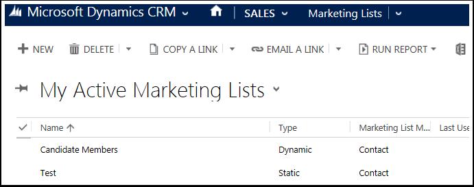 Navigate to Sales > Marketing Lists