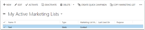 Once you have your marketing list you can create campaigns from the Active Marketing List View.