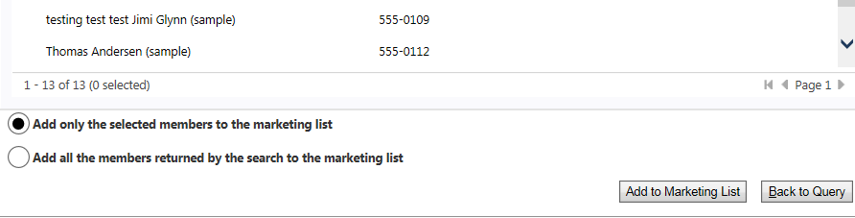 In a static marketing list you can select members to add or add everyone in the query, or adjust the query for different results.