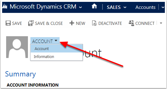 Click the downward facing arrow next to the Entity name to see which form views are available.