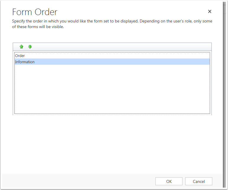 Adjust the sort order for the forms and click Ok.