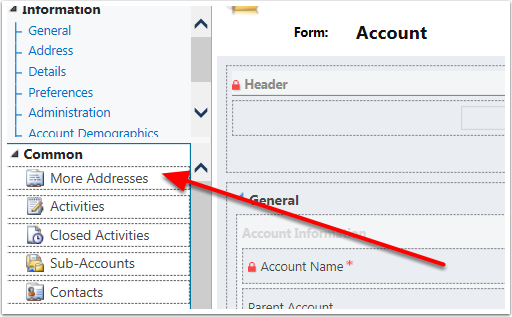 Double click the left side column of the form edit page to activate the Relationship (menu tile) editor.