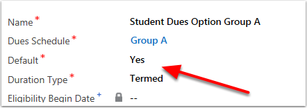 Verify a Default Dues Option Exists