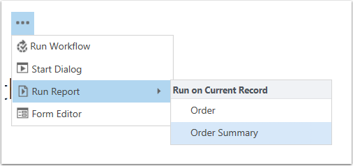 Click the More Commands button, Run Report, Order Summary