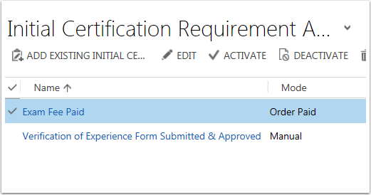 Click Add Existing Initial Certification Requirement