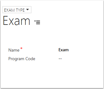 Create an Exam Type Record.