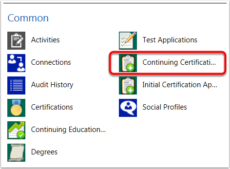 "Navigate from Contact Record to ""Continuing Certification Applications"""