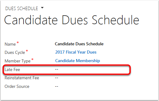 On the Dues Schedule Set a Late Fee Product