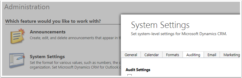 Navigate Settings > Administration > System Settings and click the Auditing Tab