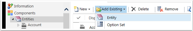 In the toolbar select Add Existing and select Entity