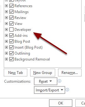 Check the box next to Developer and click OK