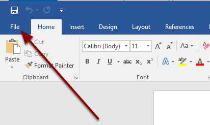 Open a blank document in word and select File in the top left corner