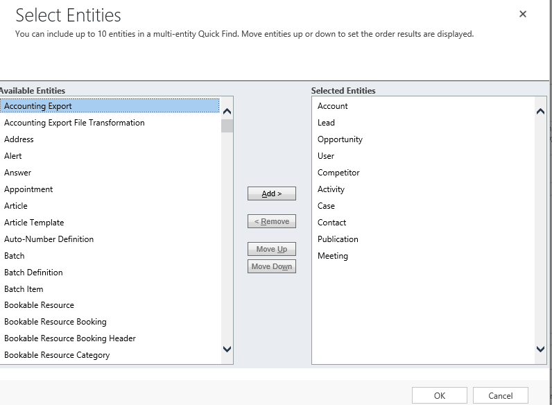 Add or remove entities from the Selected Entities List and click Ok