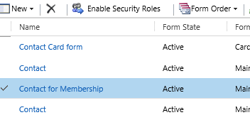 Select the form you want to assign and click Enable Security Roles